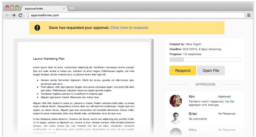 Documento en ApproveForMe