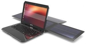 Portátil con Ubuntu que usa energía solar