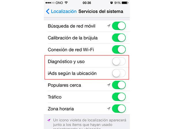 Ajustes de privacidad en iOS7